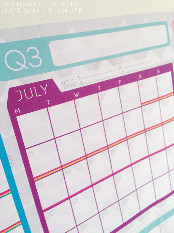 PASTEL 2015 Wall Planner A1 for Bloggers and Small Business