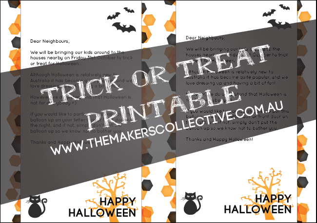 Halloween Free Trick-or-treat printable