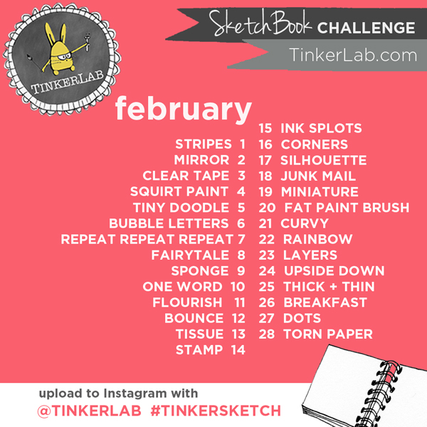 Join in the Tinkerlab Daily Sketchbook Challenge for February