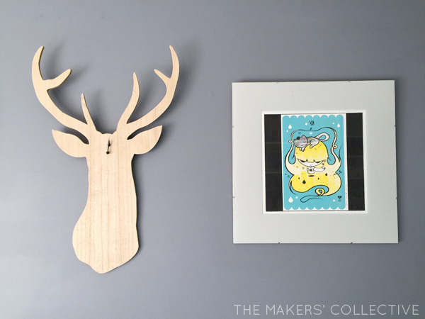 DIY Nursery Makeover grey and mint stag clock