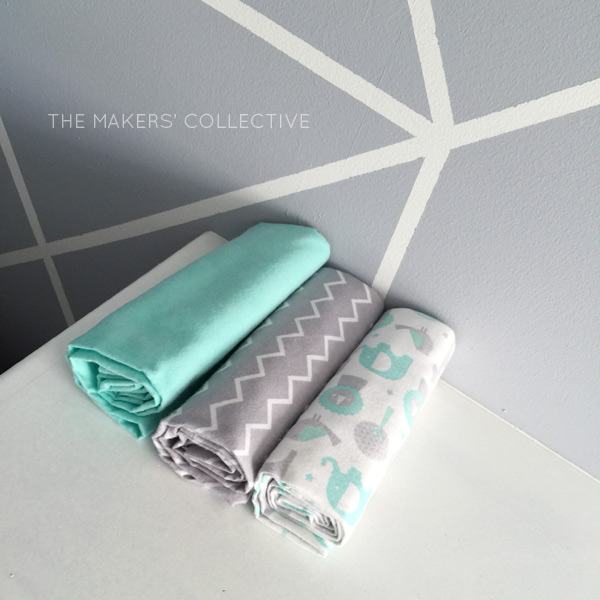 DIY Nursery Makeover grey and mint feature wall