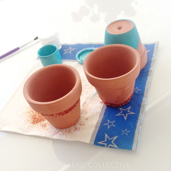 DIY Painted Glitter Pots Tutorial