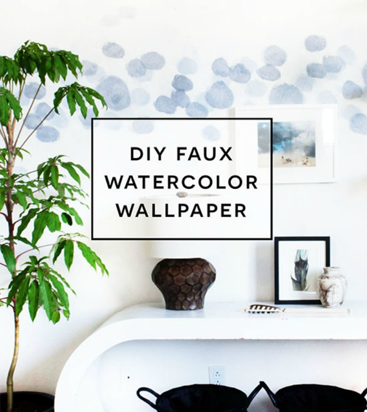 DIY watercolour wallpaper