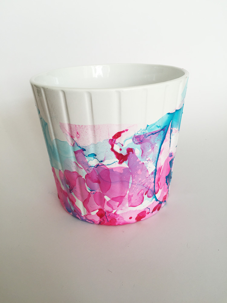 nail polish marbled pot creative challenge