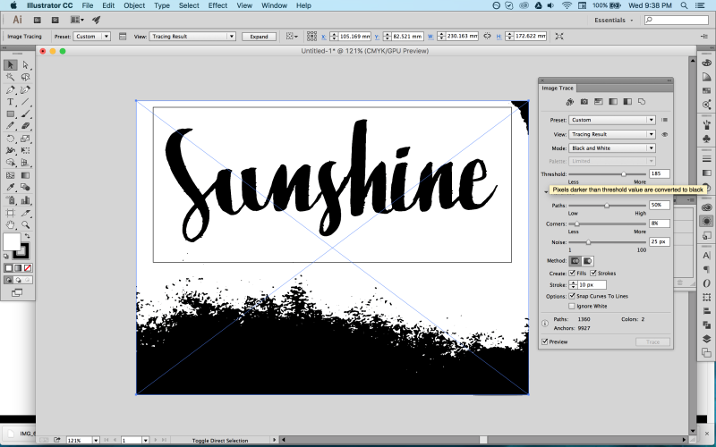 trace brush lettering in Illustrator