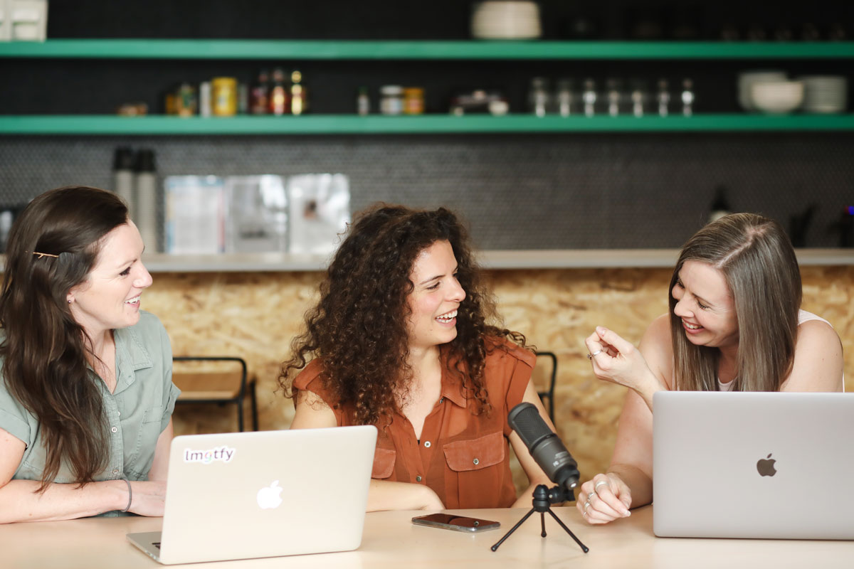 Mik, Deb and Jess at Desk - The Business of Making Podcast